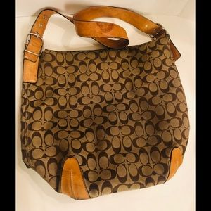 Vintage COACH Hobo Shoulder Bag Signature C brown